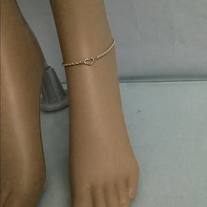 Open Heart Rope Anklet in 14k Yellow Gold